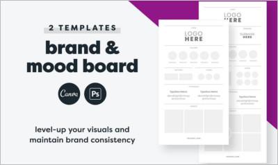Brand Board Template Canva + PSD