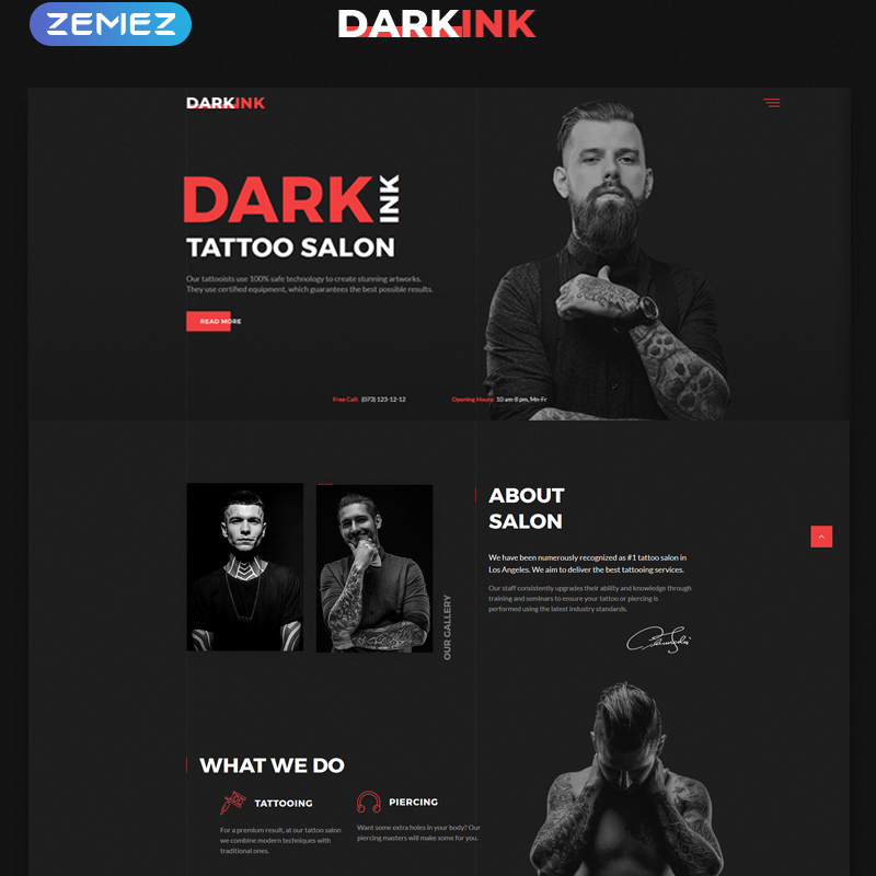 Tattoo Salon Multipage HTML5 Template