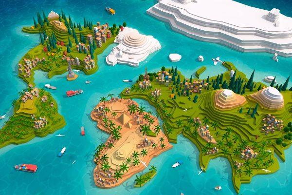 Cartoon Low Poly Earth World Map