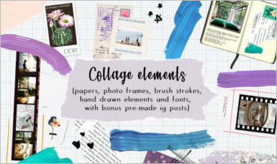 Collage Elements Fonts - Bonus