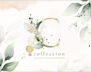 Gold Watercolor Leaves Collection