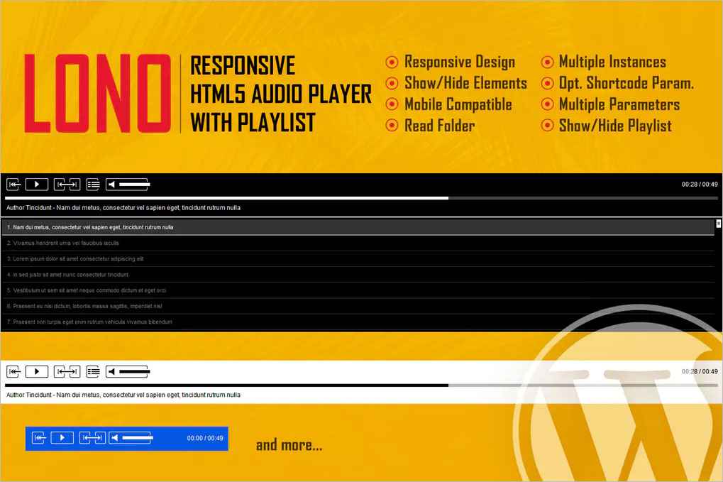 HTML5 | Free Audio Player With Playlist | Creative Template