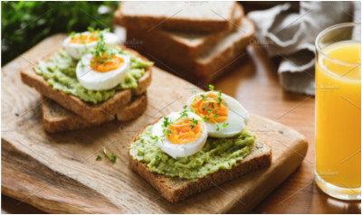 Healthy toast with avocado egg