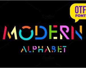 Modern stylized font.
