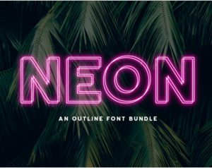 Neon Outline Font Bundle
