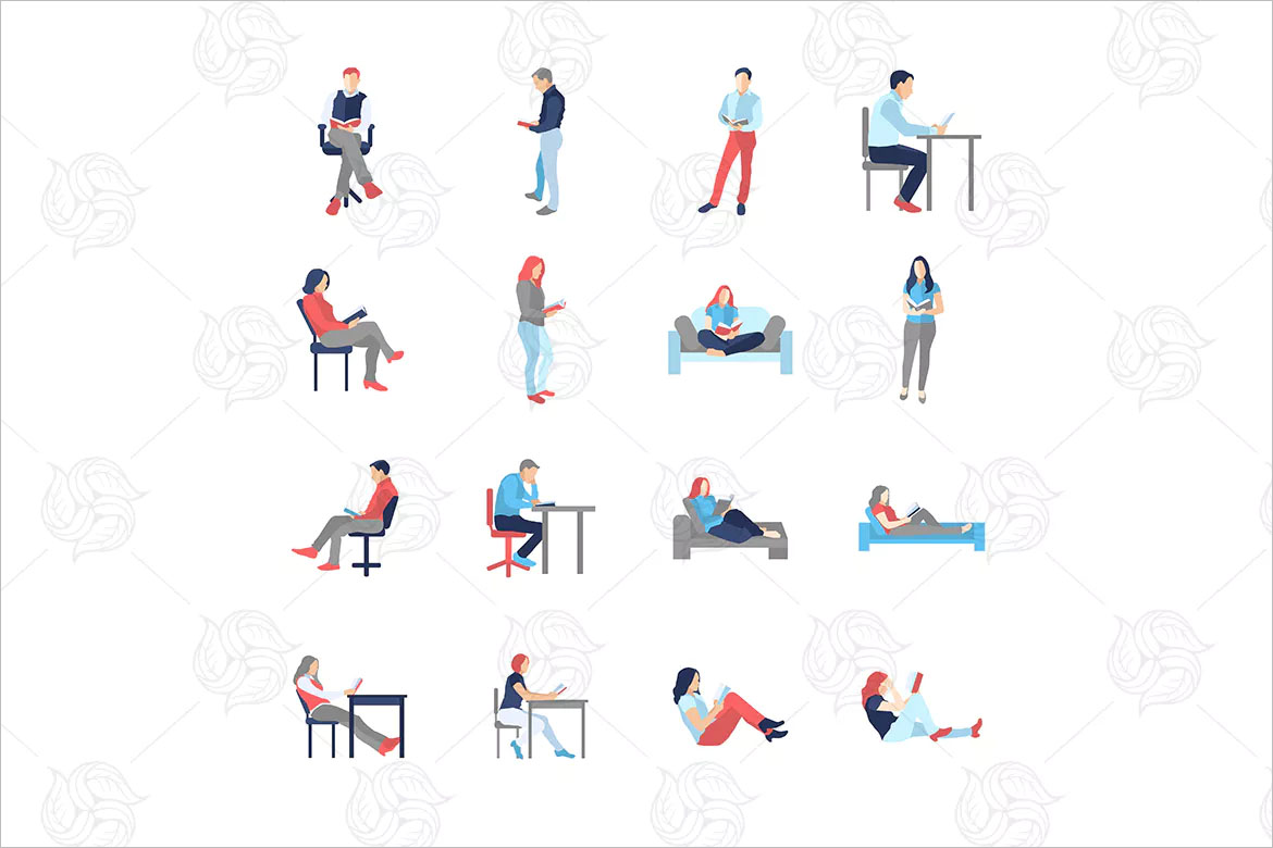People in different reading poses