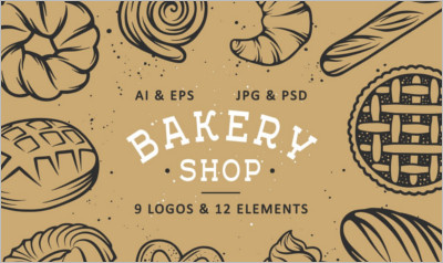 Set of bakery logos and elements