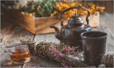Teapot - Tea Cup - Honey Jar & Herbs