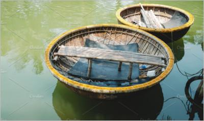 Traditional Basket Boat in Vietnam