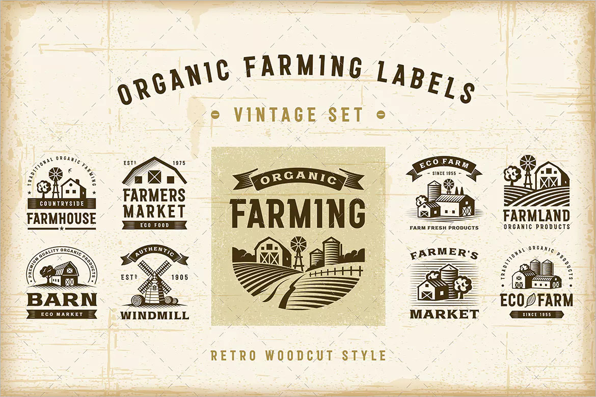 Vintage Organic Farming Labels