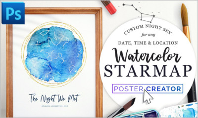 Watercolor Starmap Poster