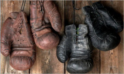 leather vintage boxing gloves