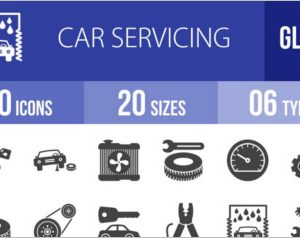 60 Car Servicing Glyph Icons