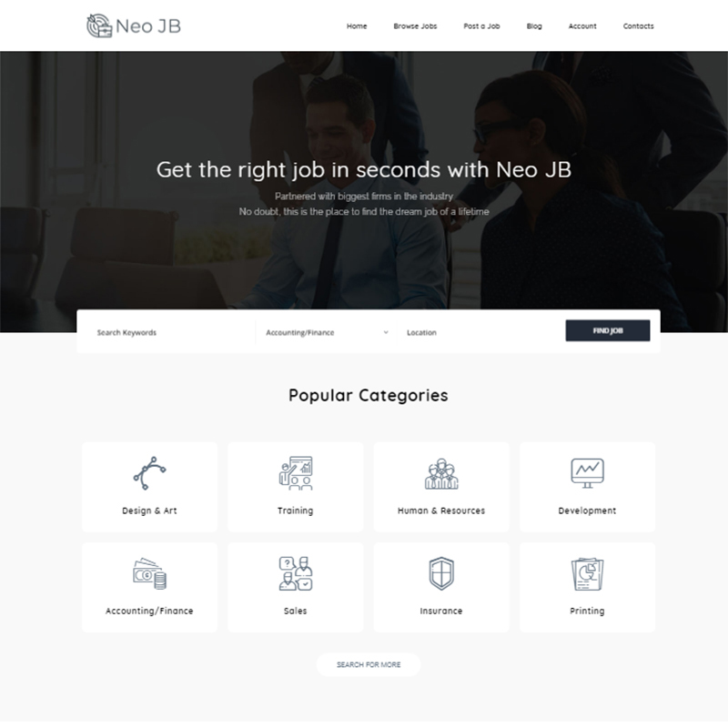 NeoJB - Modern Job Board Elementor WordPress Theme