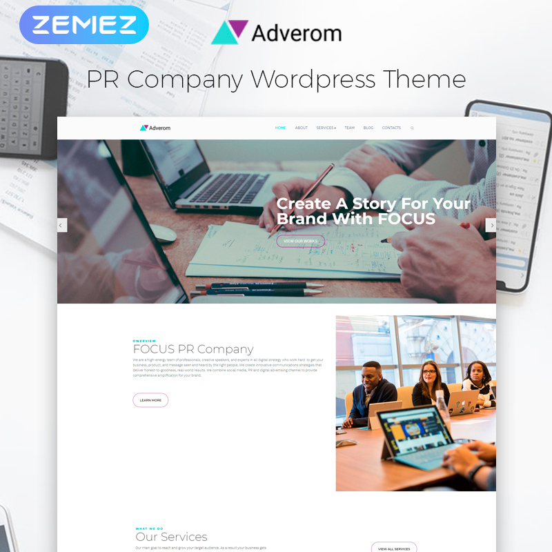 Adverom - PR Company Multipurpose Modern Elementor WordPress Theme