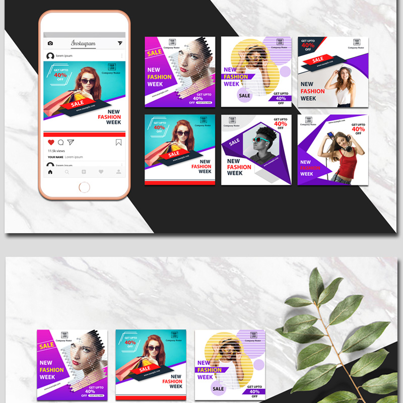 Instagram Colorful Banner Social Media