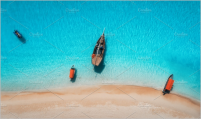 Aerial view of the fishing boats