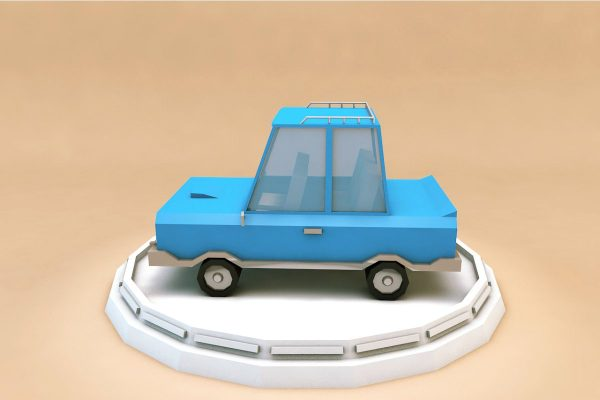 Cartoon Family Car Low Poly 3D Model
