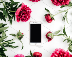 Cell phone in frame of peonies