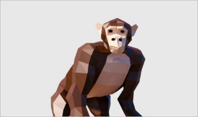Chimpanzee Low Poly - 3D Animation