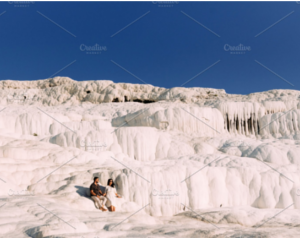 Couple in love in Turkey, Pamukkale