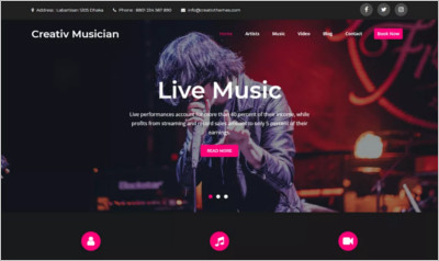 Creative Musician WordPress Theme - Free Download