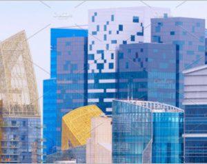 Density business skyscraper downtown