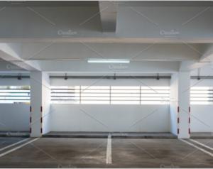Empty car parking in building