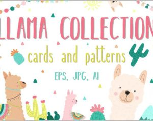 Hand-drawn llama collection