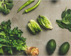 Healthy vegan ingredients layout