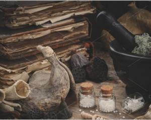 Homeopathic bottles, plants, books