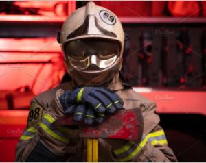 Image of man fireman in helmet