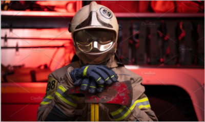 Image of man fireman in helmet
