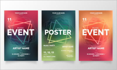 Modern music event poster collection Vector | Free Download