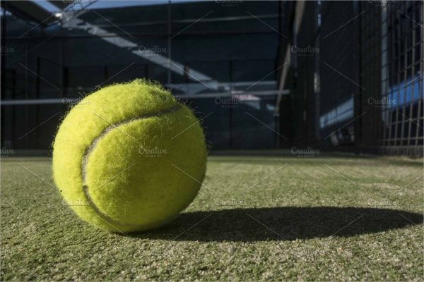Paddle tennis balls, racket, balls and net,