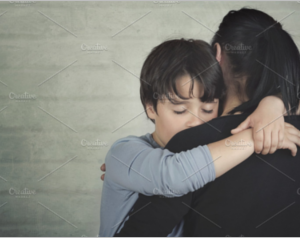 ad child hugging his mother