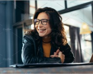 Smiling asian businesswoman