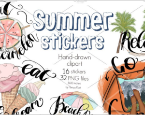 Summer Stickers Clipart Icons Kit