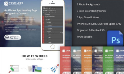 iPhone App Landing Page PSD