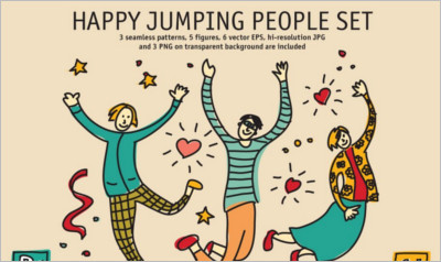 Happy jumping people set - Free Download