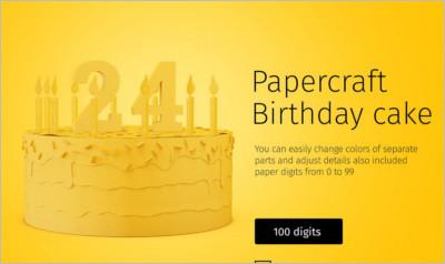 Papercraft Birthday Cake - Free Download