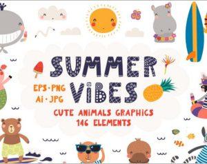 Summer Vibes Cute Animals Graphics