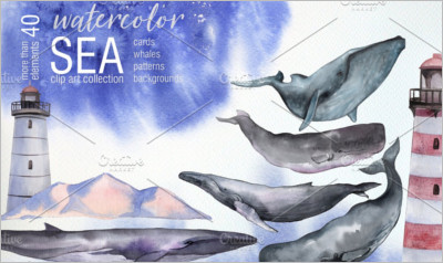 Watercolor Sea Whales set - Free Download
