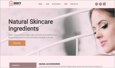 Zigcy Cosmetics WordPress Theme - Free Download