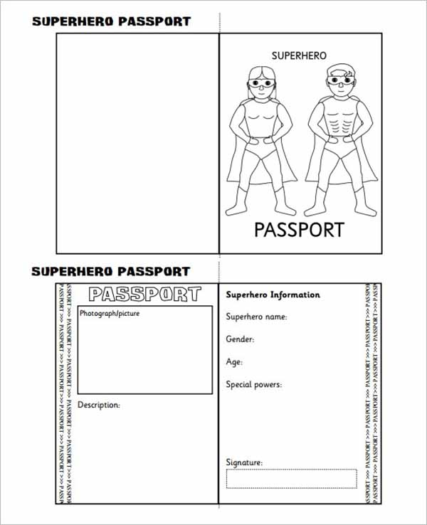 Passport Writing Frame Printable Template