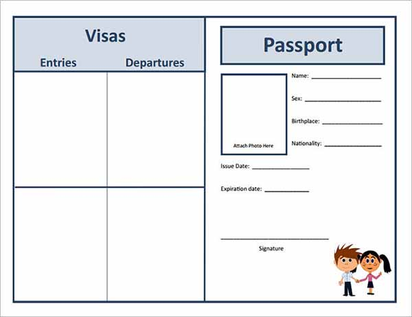 Student Study Passport Template