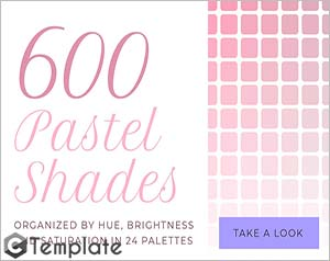 pastel shades color swatches