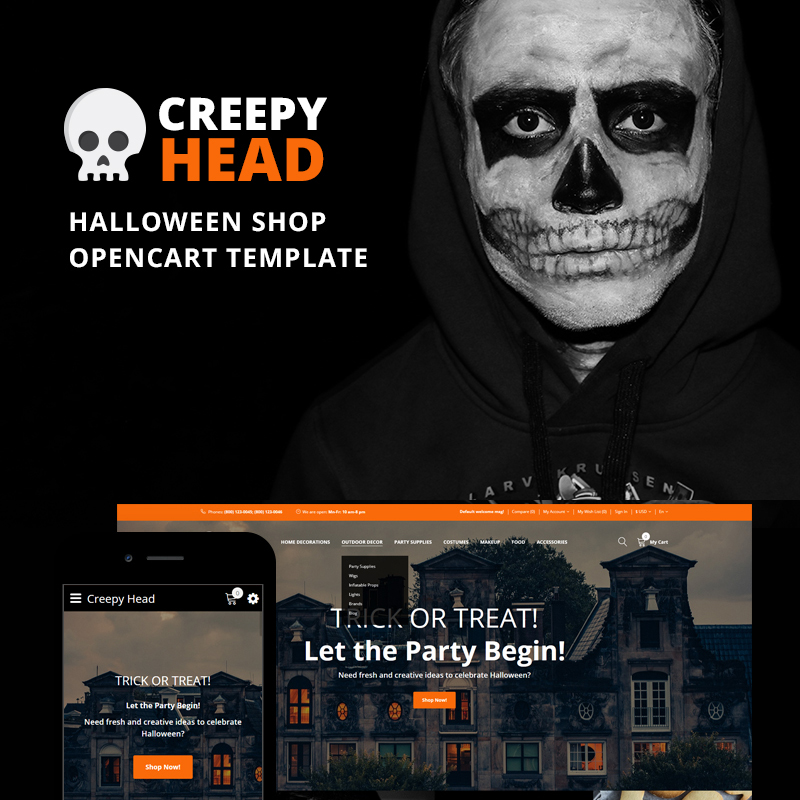 Creepy Head - Halloween Shop OpenCart Template