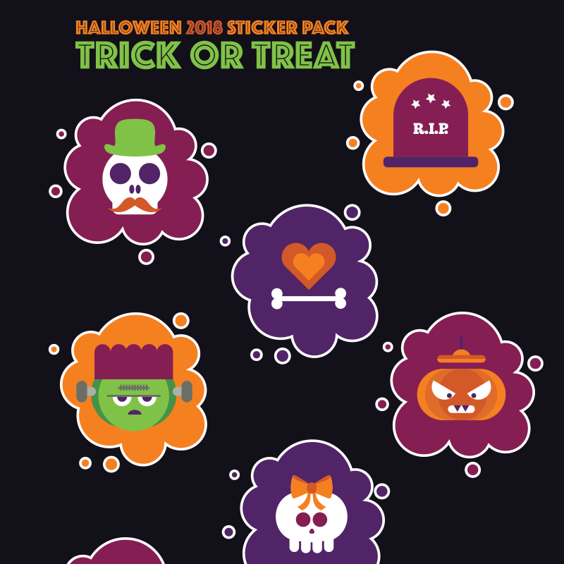 Halloween Stickers Pack: Trick or Treat Illustration