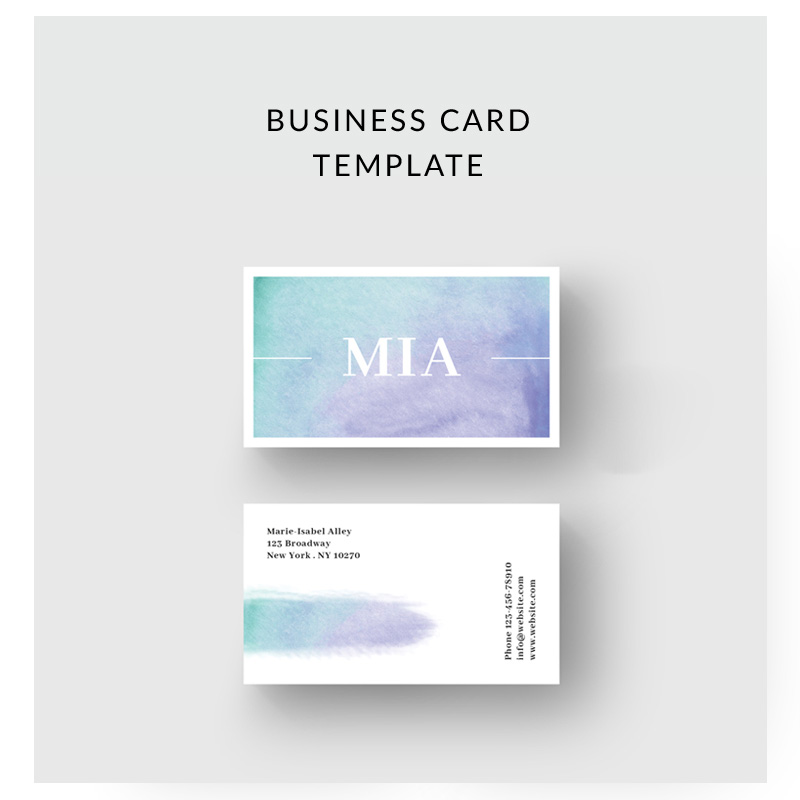 Purple Watercolor Business Card Corporate Identity Template